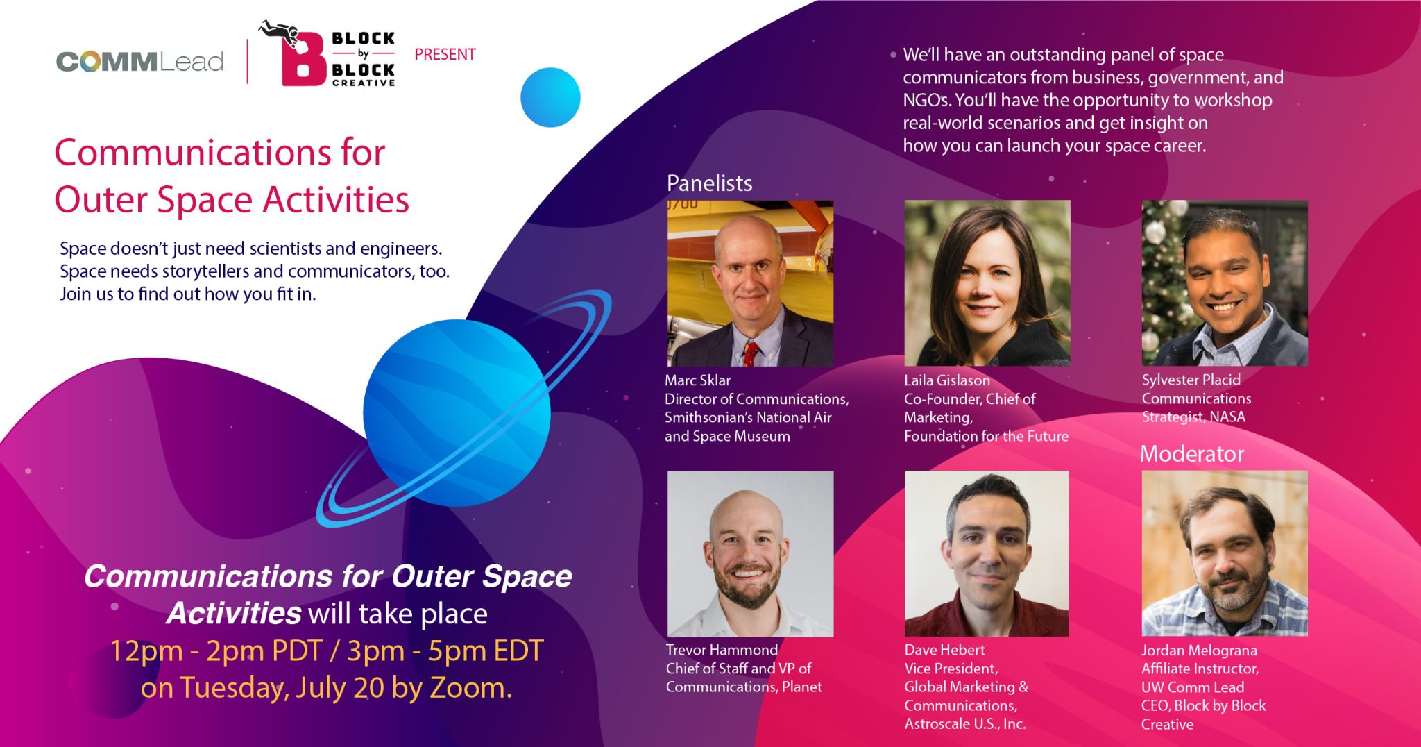 Communication for Outer Space Activities Panel - University of Washington - Banner